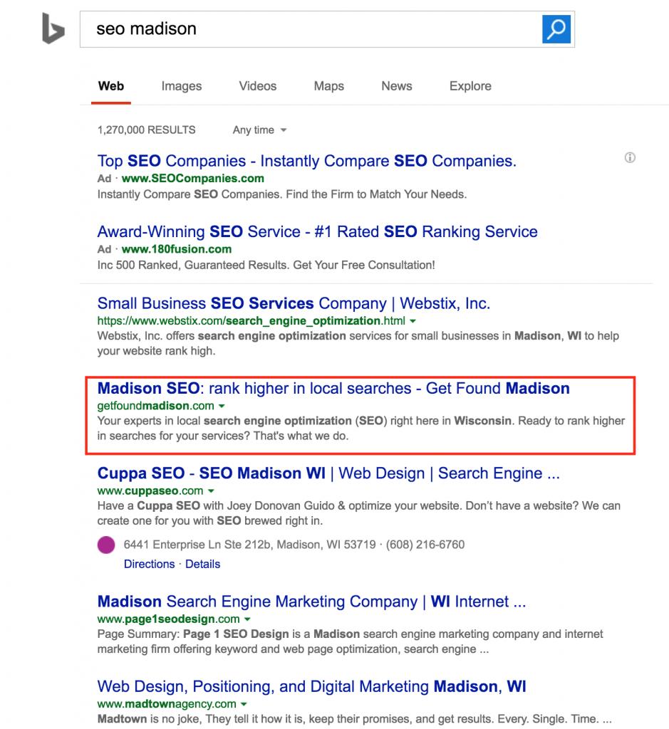 page 1 SEO ranking on Bing