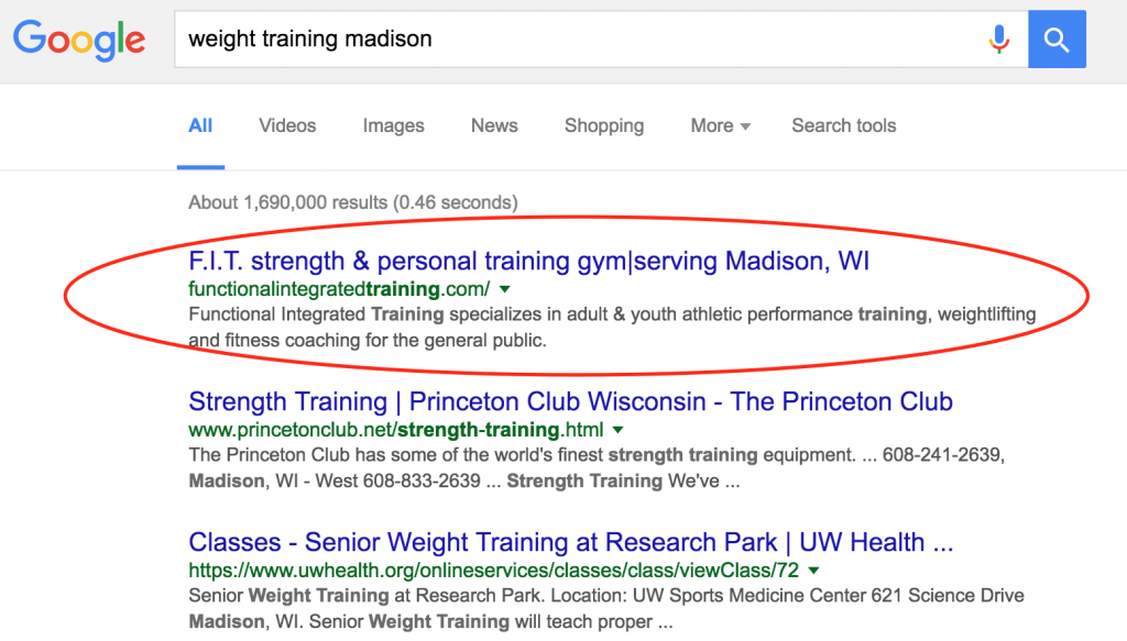 """Madison SEO result for """"weight training madison"""""""
