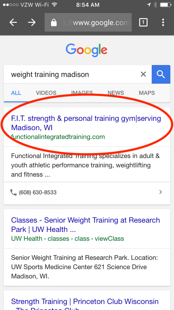 Training Gym Madison #1 SEO result