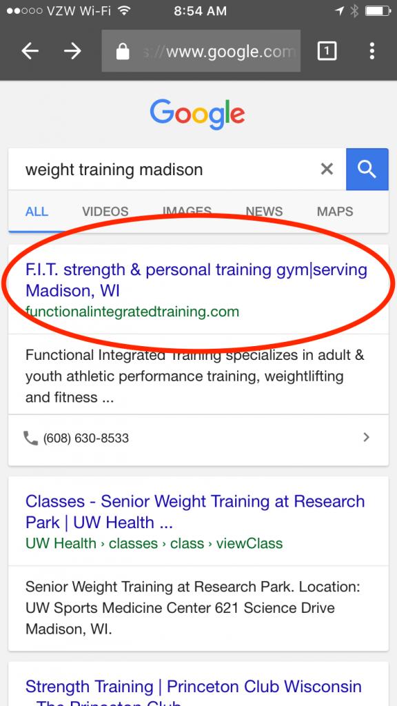 Training Gym Madison #1 SEO result