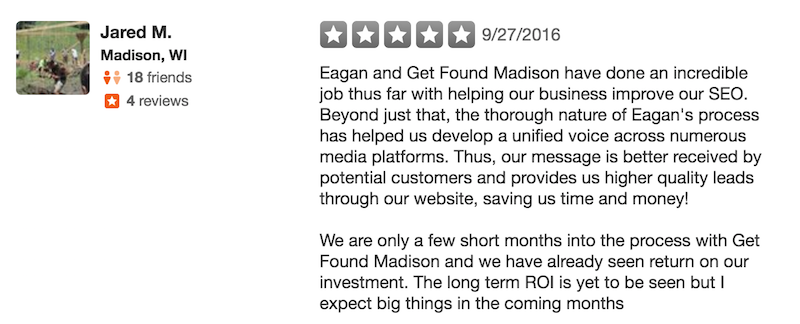 Get Found Madison SEO experts Yelp review #2
