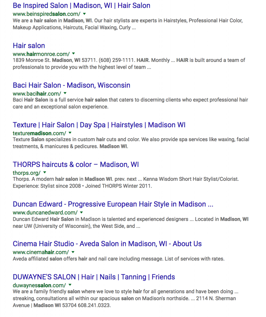 SEO SERP Salons Madison