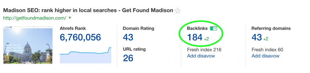 SEO backlinks for Get Found Madison SEO agency