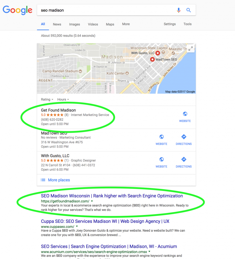 "Google Result page for ""SEO Madison"""