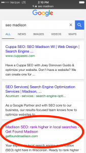 """SEO Madison"" Wisconsin ranking"