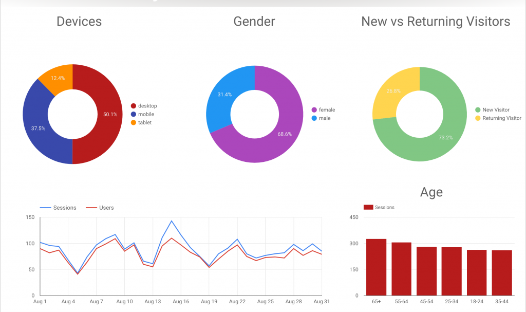 Demographic Website Analytics Report with Pie Graphs