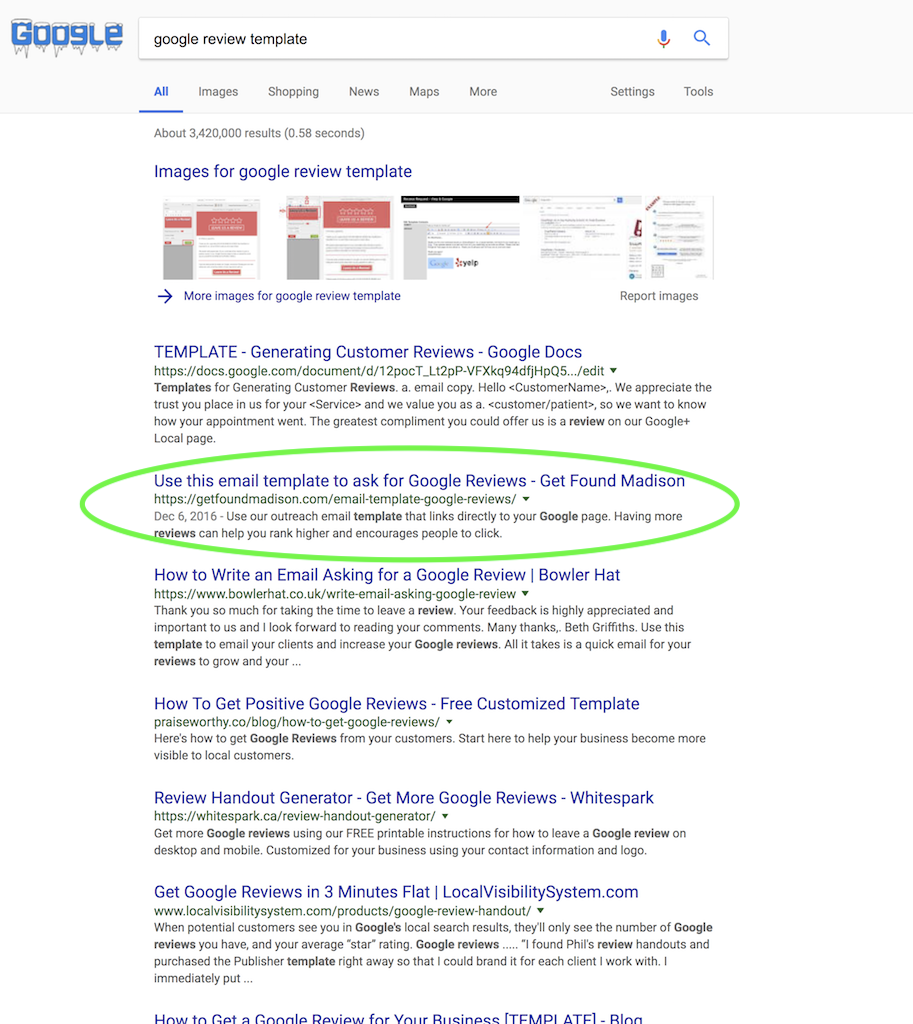 page 1 ranking for google review template