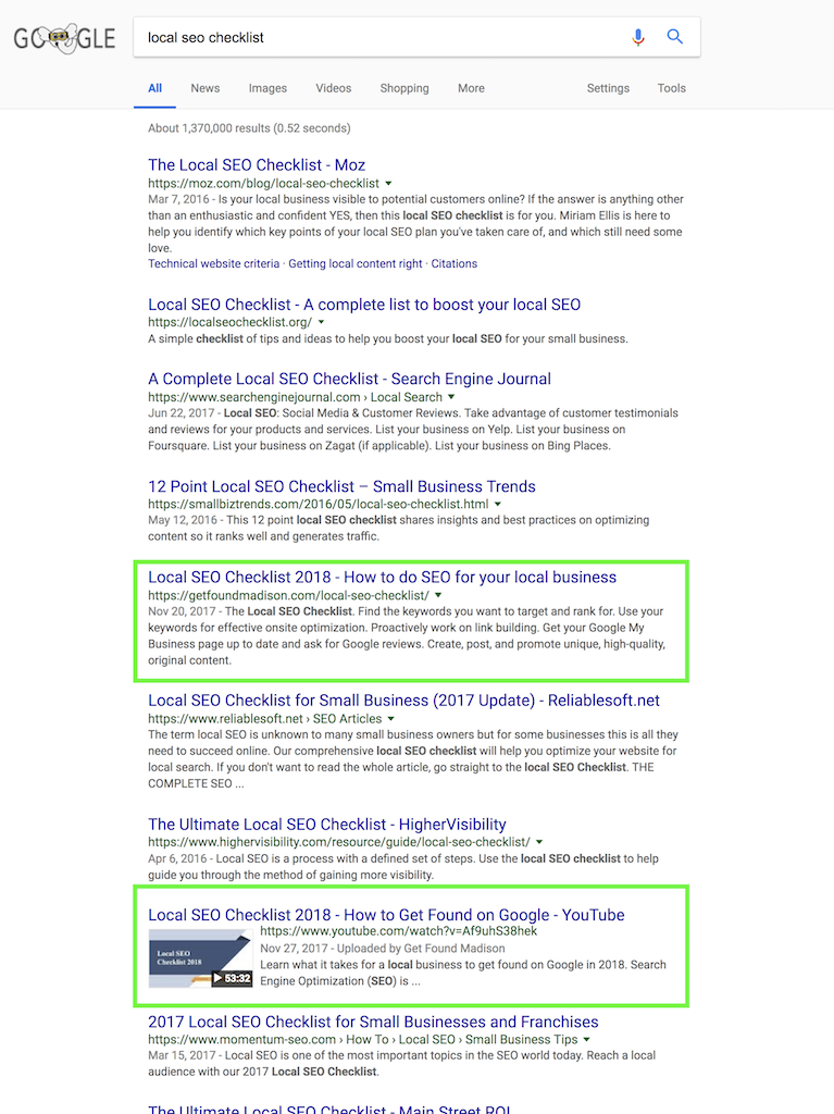 page 1 ranking for local seo checklist