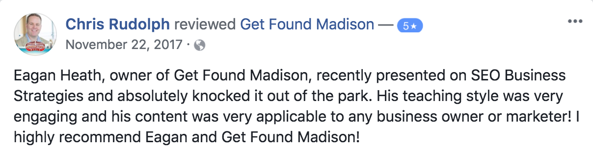 Review for digital marketing speaker Eagan Heath and his company Get Found Madison