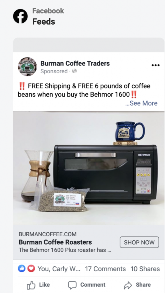 Facebook Ad example from Burman Coffee by Get Found Madison