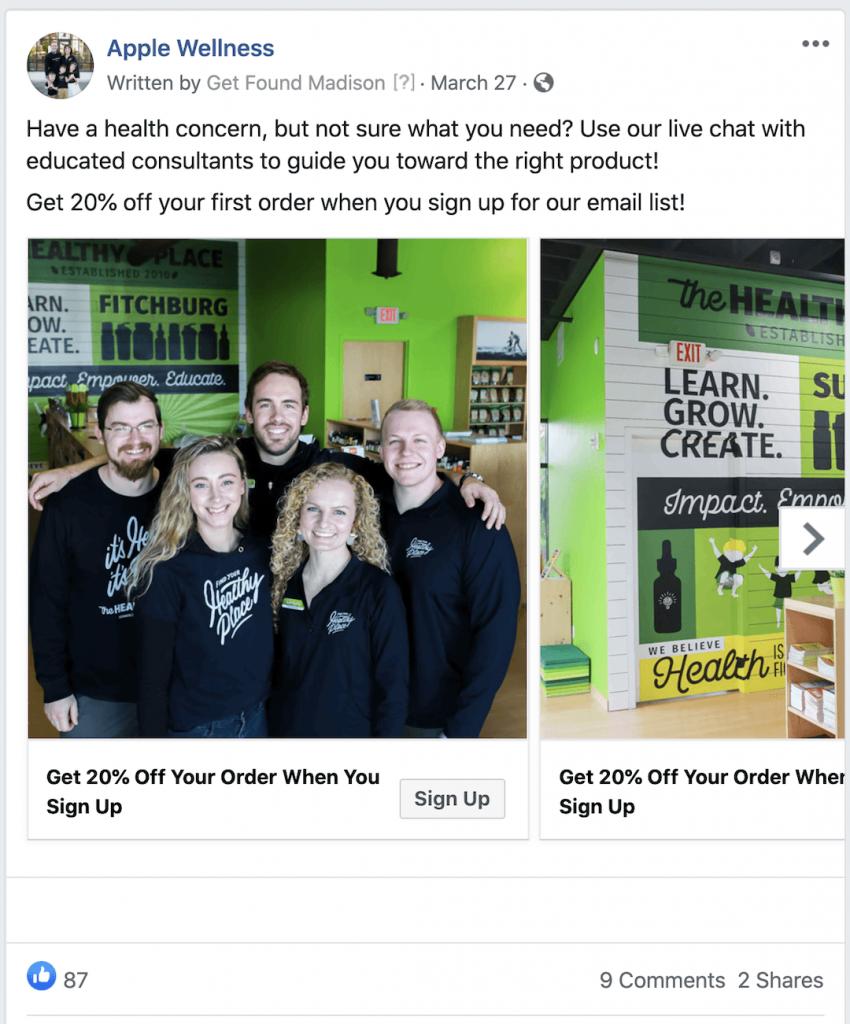 Successful Facebook ad example